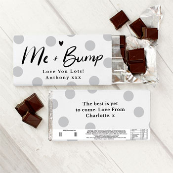 Personalised Me & Bump Design Milk Chocolate Bar