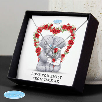Personalised Me to You Valentine Heart Necklace in Box