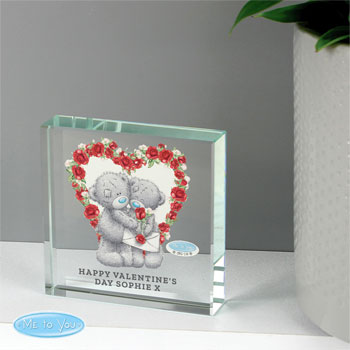 Personalised Tatty Teddy Valentine's Day Large Crystal Token