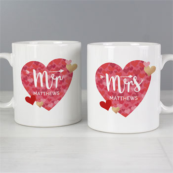 Personalised Mr and Mrs Valentines Day Confetti Hearts Mug