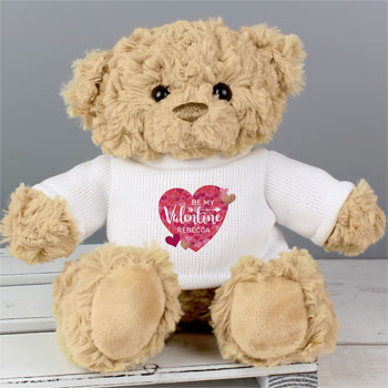 Personalised Valentine's Day Gift Confetti Hearts Teddy Bear