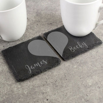 Personalised Two Hearts Slate Coaster Set Couples Gift