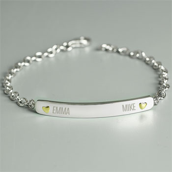 Personalised 2 Names Sterling Silver & 9ct Gold Bar Bracelet