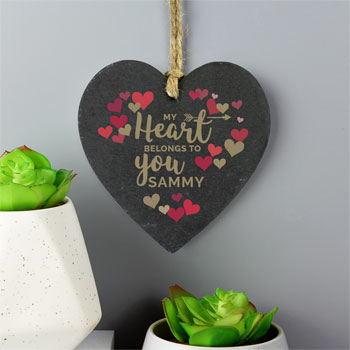 Personalised Confetti Hearts Printed Slate Heart Decoration