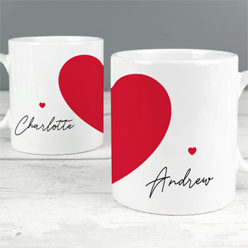 Personalised Two Hearts Mug Set Couple Gift