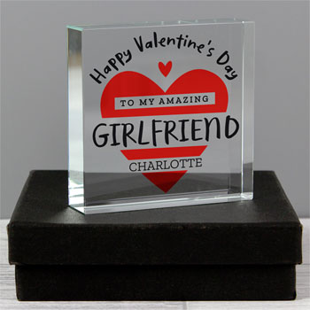 Personalised Valentine's Day Crystal Token Red Heart