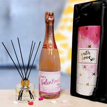 Personalised Sparking Rosé & Reed Diffuser Valentines Set