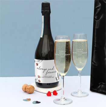 Personalised Always & Forever Prosecco & Flutes Gift Set