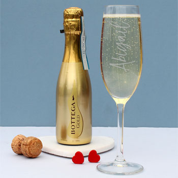 200ml Gold Bottega Prosecco & Personalised Flute Gift Set