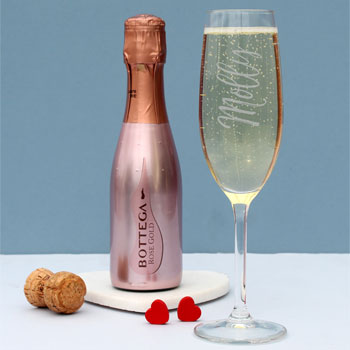 200ml Rose Gold Bottega Prosecco & Personalised Flute Set