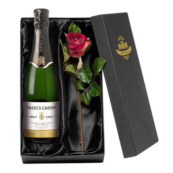 Personalised Cava & Silk Rose Romantic Gift Set
