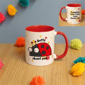 Personalised Flossy and Jim Dotty About You Red Inside Mug