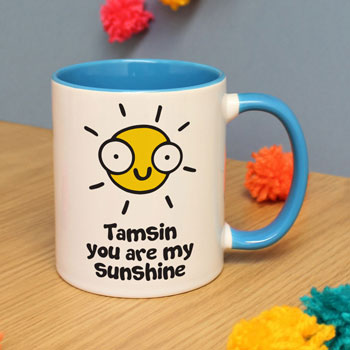 Personalised Flossy & Jim You Are My Sunshine Blue Mug