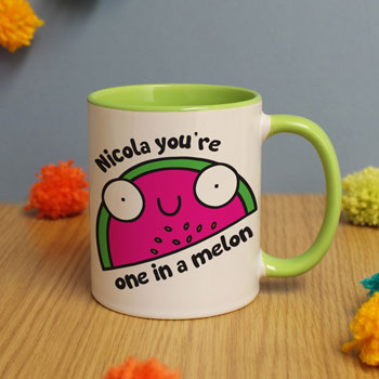 Flossy & Jim Personalised One In A Melon Green Inside Mug