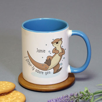 Personalised Otter-ly Adore You Blue Inside Mug