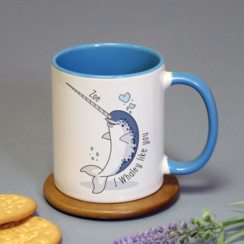 Personalised I Whaley Like You Blue Inside Mug