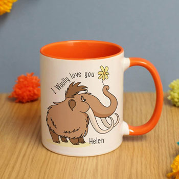 Personalised I Woolly Love You Orange Inside Mug