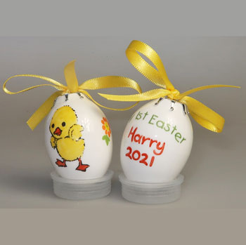 Personalised Bone China Hand Painted Easter Egg Bauble