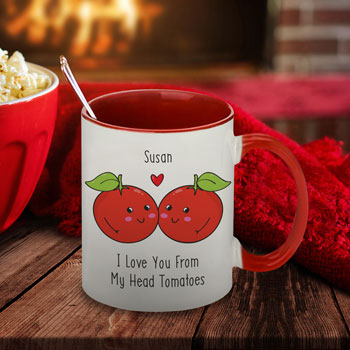 Personalised From My Head Tomatoes Red Mug