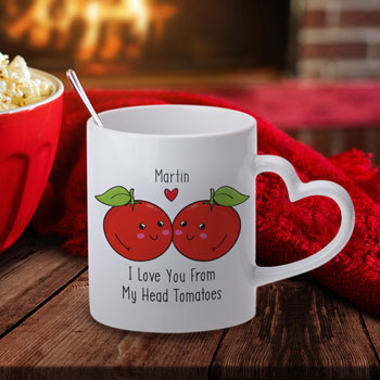 Personalised From My Head Tomatoes Heart Handle Mug