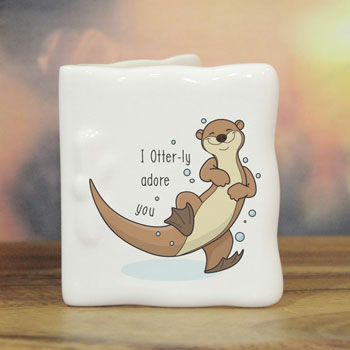 Personalised Otter-ly Adore You Bone China Message Card