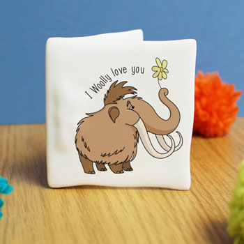 Personalised Woolly Love You Bone China Message Card