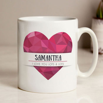 Personalised Geometric Heart Hug Mug