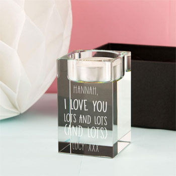 I love you Personalised Glass Tealight Holder