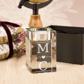 Personalised Couple's Initials Glass Tealight Holder