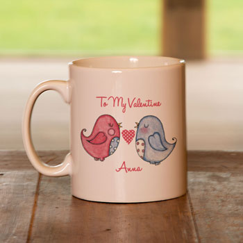 Personalised Love Birds Valentine Mug