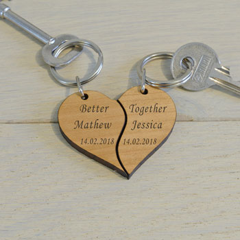 Personalised Couple's Wooden Heart Key Ring Better Together