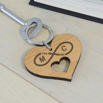 Personalised Wooden Key Ring Infinity Initials