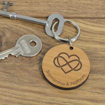 Personalised Wooden Key Ring Infinity Romantic Gift