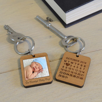 Personalised Wooden Photo Key Ring Polaroid Style