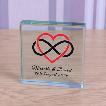 Personalised Glass Token Heart Infinity Romantic Gift