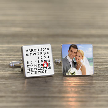 Personalised Special Date Photo Cufflinks Black or White