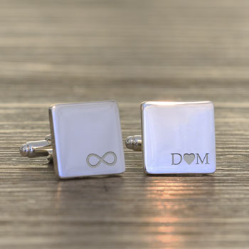 Personalised Infinity Initials Square Cufflinks