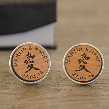 Personalised Feng Shui Round Cherry Wood 'Love' Cufflinks