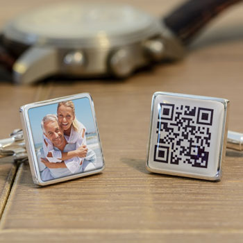 Personalised Secret Message QR Code & Photo Square Cufflinks