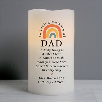Personalised In Loving Memory Rainbow LED Memorial Candle