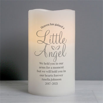 Personalised Little Angel Baby Memorial LED Candle