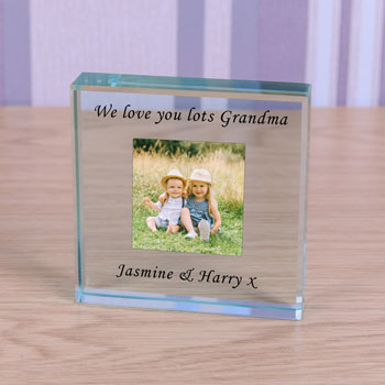 Large Personalised Glass Token Photo Upload With Message