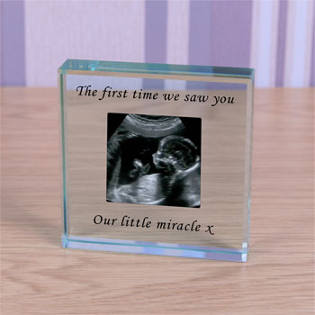Large Personalised Glass Token Photo Upload Baby Scan