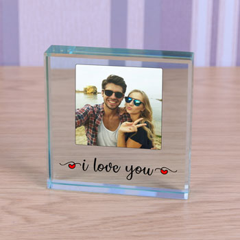 Romantic Glass Photo Upload Token I Love You