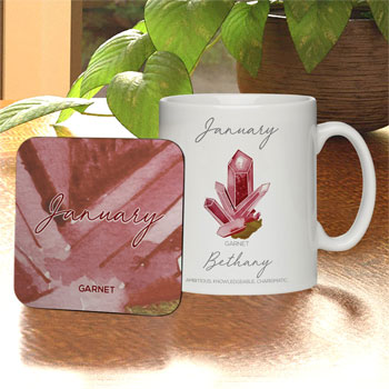 Personalised Birthstone Mug & Coaster Set