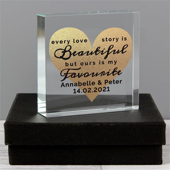 Personalised Every Love Story Large Crystal Gold Heart Token
