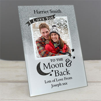 Personalised Moon and Back 4x4 Glitter Glass Photo Frame