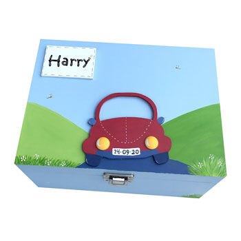 Wooden Car Personalised Blue Keepsake Box