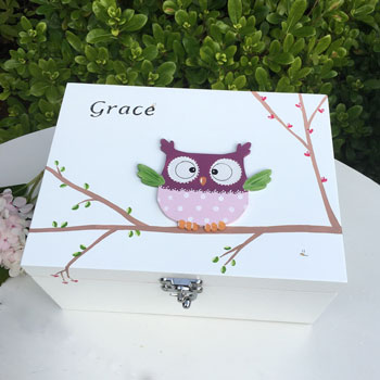 Girl's 3D Owl Personalised White Wooden Keepsake Box
