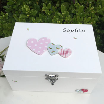 Girl's Hearts Personalised White Wooden Keepsake Box